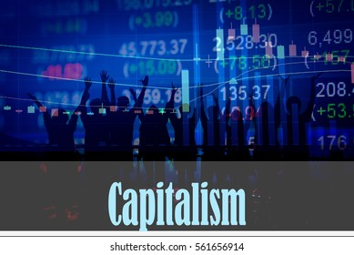 Capitalism - Hand writing word to represent the meaning of financial word as concept. A word Capitalism is a part of Investment&Wealth management in stock photo.