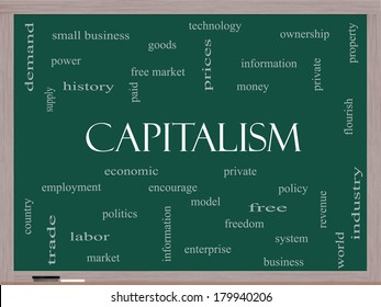 Capitalism Word Cloud Concept on a Blackboard with great terms such as economic, private, free and more.