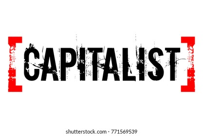 Capitalist sticker. Authentic design graphic stamp. Original series