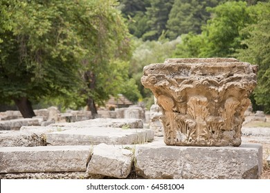 Capitel, columns in the mount olympus, Peloponnese, Greece, Europe.