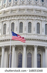 Capitol with American flag - detail, US, Washington DC
