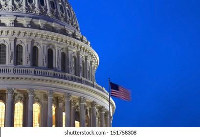 Capitol Building Dome at night - detail, Washington, DC, USA.