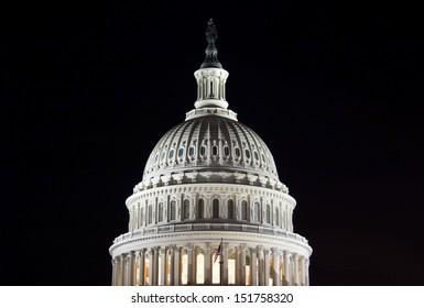 Capitol Building Dome at night, Washington, DC, USA.