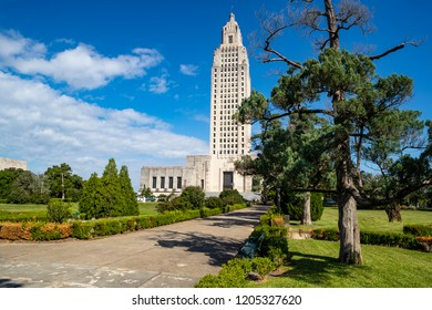 The capitol building and grounds of Louisana in Baton Rouge. The tallest capitol building in the US.