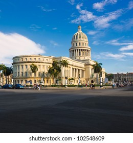 The Capitol building in Havana and its adjacent streets including the Great Theater in the background