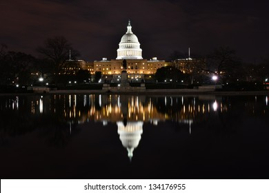 Capitol Building at night with reflection pool, Washington DC, United States