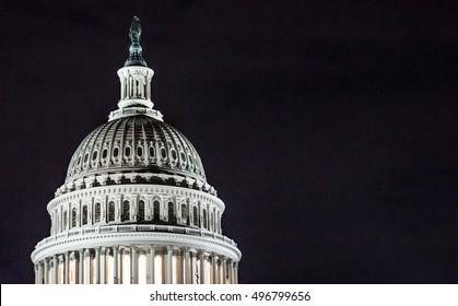 The Capitol Building Rotunda at Night in Washington, DC