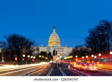 Capitol Building at  Sunset Pennsylvania Ave, Washington DC
