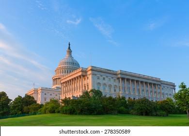 Capitol building Washington DC sunlight USA US congress