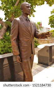 Capitol District, Puerto Rico - August 20th 2019: Bronze statue of ex-U.S President Barack Obama, one of the nine bronze statues celebrating the nine U.S Presidents to have visited Puerto Rico.
