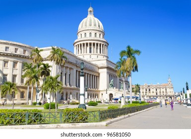 The Capitol in downtown of Havana, on a bright day