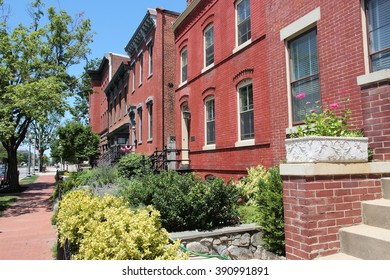 Capitol Hill in Washington DC, capital city of the United States. Colorful townhouses.