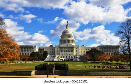 Capitol Hill in Washington DC, surrounded by trees in autumn.USA. November,2010.