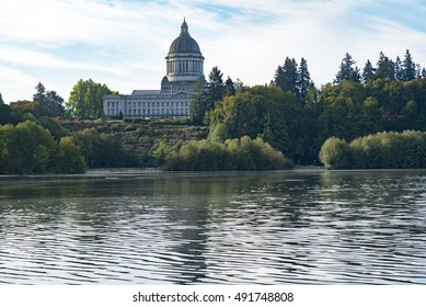 Capitol Lake View of State Government Buildings - Olympia, Washington
