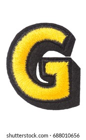 Capitol letter G of stitched with thread. Isolate on white background