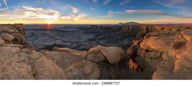 Capitol reef national park panorama at sunrise