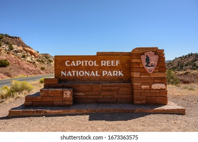 Capitol Reef National Park, United States: October 5, 2019: Capitol Reef Sign from Straight On at entrance to park