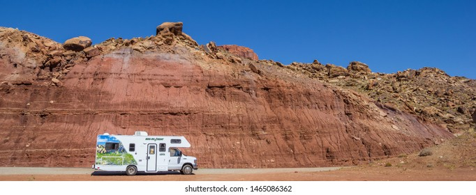 CAPITOL REEF, UT, USA - OCTOBER 3, 2015: Panorama of an RV in Capitol Reef National Park, USA