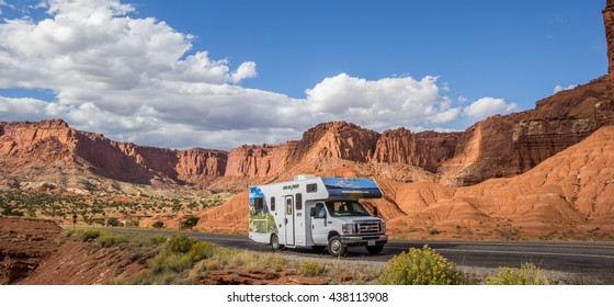 CAPITOL REEF, UT, USA - OCTOBER 3, 2015: Panorama of an RV in Capitol Reef National Park