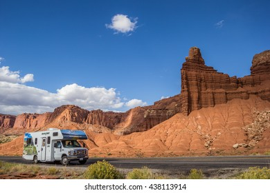 CAPITOL REEF, UT, USA - OCTOBER 3, 2015: RV along a road in Capitol Reef National Park