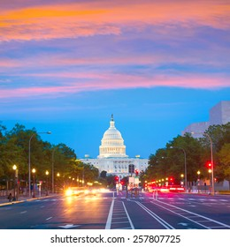 Capitol sunset Pennsylvania Avenue congress Washington DC USA