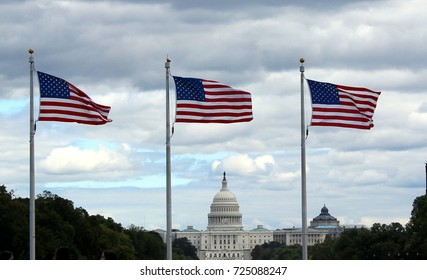 Capitol and US Flags