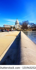 Capitol in Washington DC. Photo January 23, 2019. Capitol and embankment of the frozen pond in Washington DC