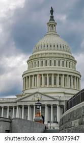 The Capitol in Washington with gloomy clouds