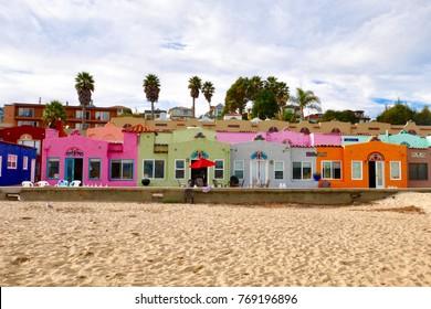 Capitola beach CA, November-24-2017, Colorful house by the sea, Landmark of Capitola beach, Capitola Santa Cruz, CA USA