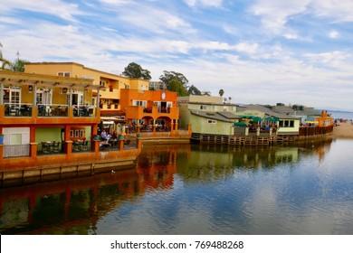 Capitola beach CA, November-24-2017, Colorful restaurant by the sea, Capitola Santa Cruz, CA USA