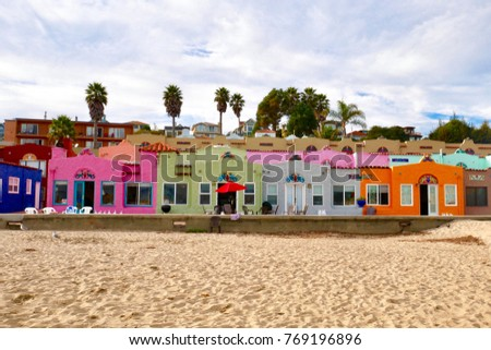 capitola beach ca november 24 2017 colorful house by the sea