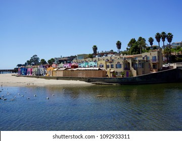 Capitola, California. Cutest beach town on the west coast. Colorful buildings, ocean and blue sky. Travel.