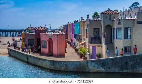 Capitola, California, USA - September 10, 2017: The colorful beachfront Mediterranean-style Capitola Venetian Hotel was built in the 1920's