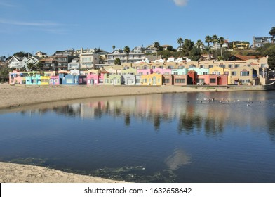 Capitola, California/USA-October 21, 2014: Multicolored housing on the beach in Capitola, California