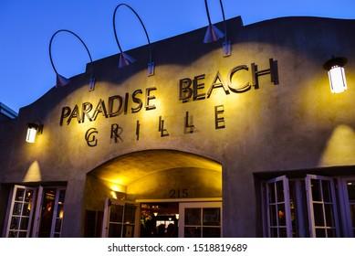 Capitola, CA/USA - Feb. 10, 2018: Paradise Beach Grille, an award winning beachside restaurant in Capitola, California.