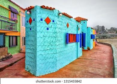 CAPITOLA, CA/USA - FEBRUARY 15, 2014: Capitola Venetian Hotel and Capitola State Beach.