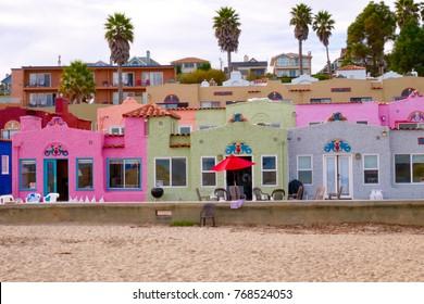 Capitola village, California- November-23-2017, Colorful village by the sea Landmark of Capitola Beach
