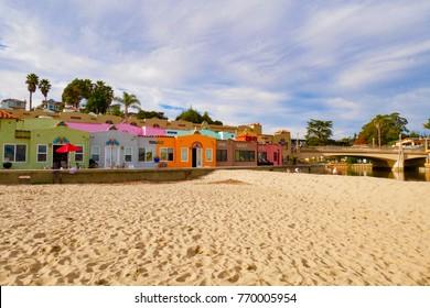 Capitola village - November - 24 - 2017, Colorful house by the sea, The landmark of Capitola beach California USA.