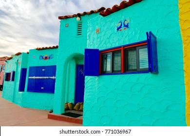 Capitola village = November-23-2017, Colorful house by the sea the landmark of Capitola beach, Santa Cruz, California, USA
