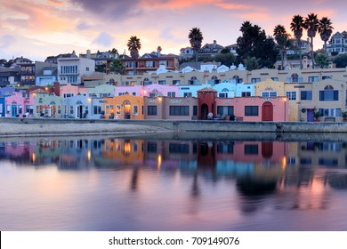 Capitola Village Sunset Reflections. Capitola, Santa Cruz County, California, USA