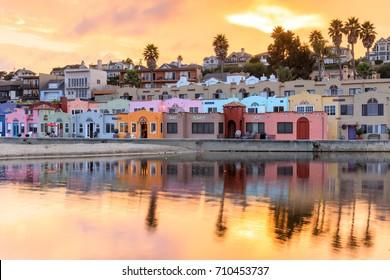 Capitola Village Sunset Vibrancy. Capitola, Santa Cruz County, California, USA.