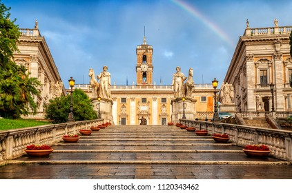 Capitoline hill (Campidoglio) is one of the Seven Hills of Rome, Italy. Rome architecture and landmark. View of the Capitoline Hill after the rain.