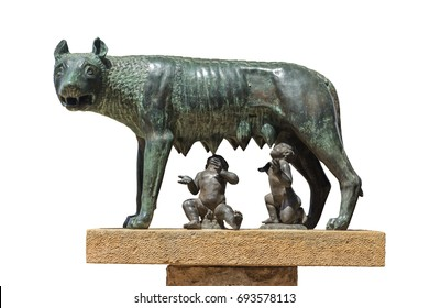 The Capitoline Wolf: Statue of the she-wolf suckling Romulus (founder of Rome) and Remus: the icon of the founding of the city of Rome, Italy
