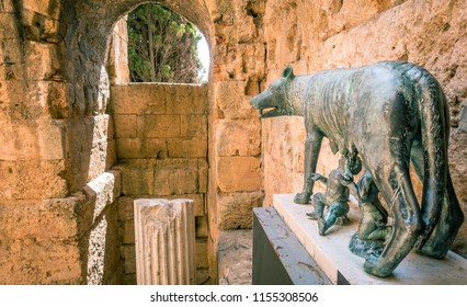 Capitoline Wolf in Tarragona, Spain. Part of The Archaeological Ensemble of Tarraco, declared a UNESCO World Heritage Site Ref 875