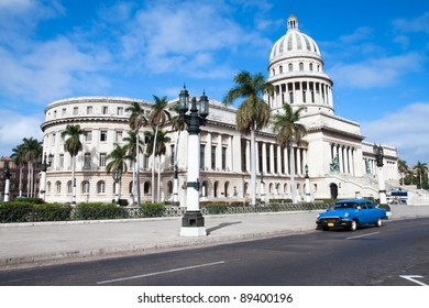 Capitolio building and vintage old american car. Havana, Cuba