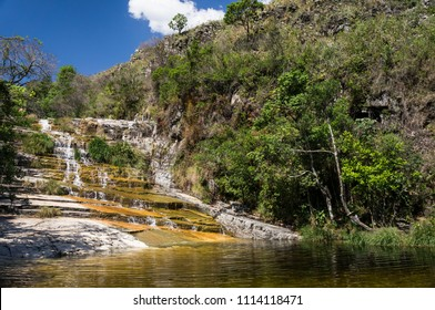 CAPITOLIO, MINAS GERAIS / BRAZIL - NOVEMBER 14, 2017: The beautiful Diquadinha waterfall. Waterfall located near KM 312 of MG-050 highway.