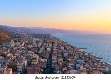 Capo d'Orlando (Italy) during sunset. Capo d'Orlando is a community in the province of Messina, Sicily, Italy