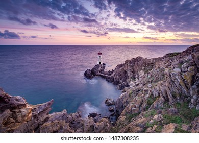 Capo Ferro cape lighthouse in Sardinia, Italy.