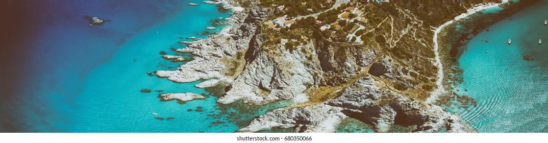 Capo Vaticano, Calabria - Italy. Amazing panoramic aerial view of coastline on a sunny day.