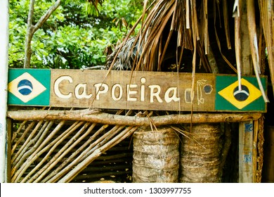Capoeira Sign with Brazilian Flags Tropical Jungle Shack